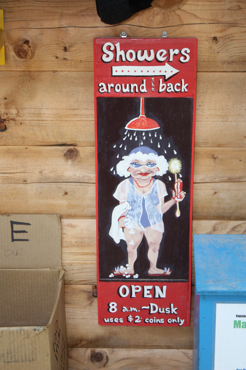 Clearwater Lake campground shower sign