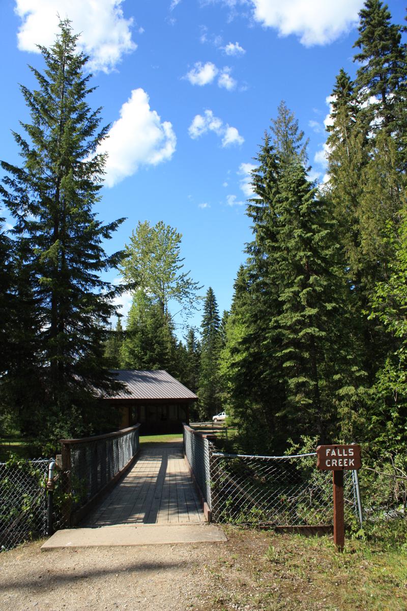 Falls Creek bridge and talk shelter
