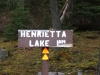 Henrietta Lake trail sign between Site 2 and 3