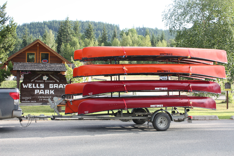 0 km Murtle Lake rental canoes in front of Wells Gray Info Centre